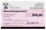 Überreichungsscheck Tierheim Landsberg - Gewinner der Spendenaktion